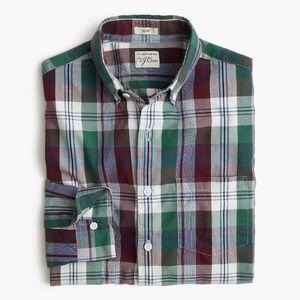 J.Crew Slim Secret Wash Indigo Plaid Shirt